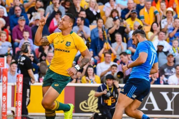 Number 1, Israel Folau scores a double for the third week in a row. The first person to do so.