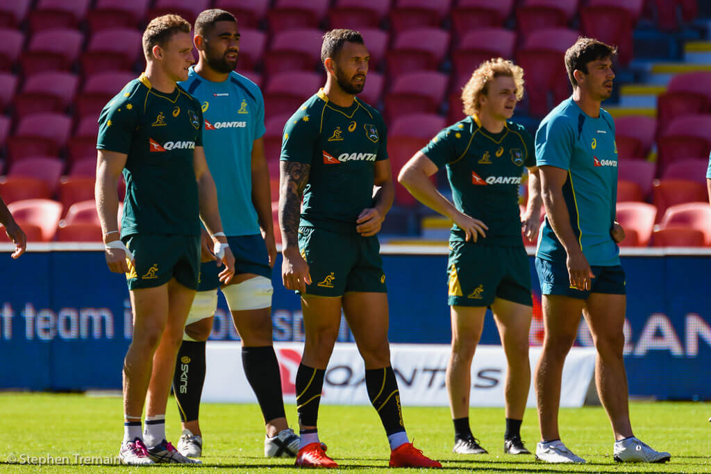 Reece Hodge, Lukhan Tui, Quade Cooper, Joe Powell and Jake Gordon at the Captain's Run
