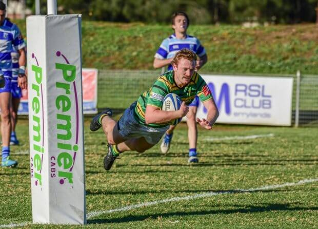 Andrew Boyce scores a try vs Parramatta (Image Credit - Gordon Highlanders Rugby Club)