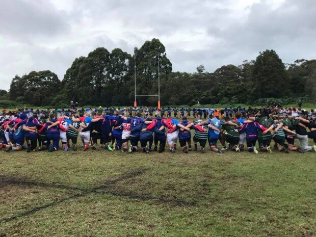 The Parramatta Boys join in a prayer for Lachlan Ward (Image Credit: Sydney Junior Rugby Union).