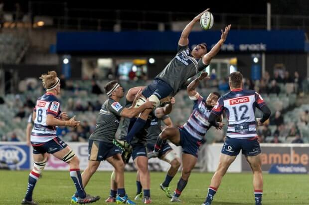 Brumbies' lock, Rory Arnold overbalances as he's lifted to catch the kick off.