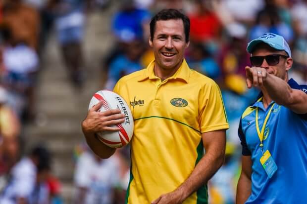 Julian Huxley playing for Classic Wallabies against Fiji Warriors at Sydney 7's