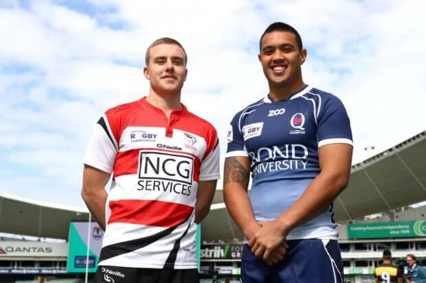 Canberra Viking player Jordan Jackson-Hope with QLD Country Duncan Paia'aua NRC 2017