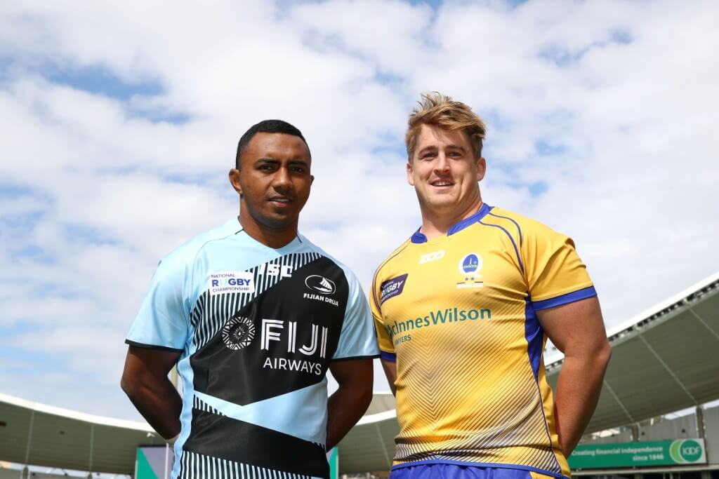 Brisbane City captain Andrew Ready with Fiji Captain Seru Vularika NRC 2017