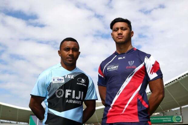 Melbourne Rising player Rob Leota with Fiji Captain Seru Vularika NRC 2017