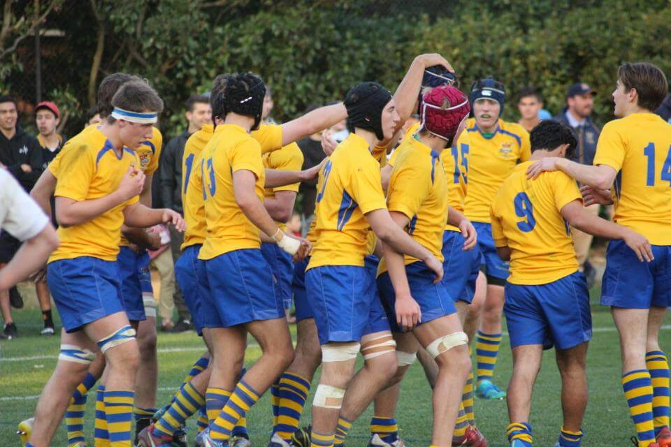 Aloys team celebrate after scoring a try Source: Up the Guts