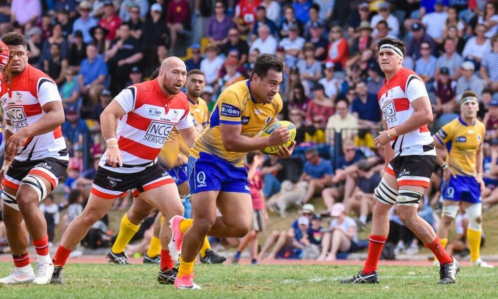 AJ Alatimu makes a break to score for Brisbane City