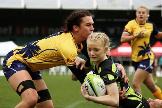 Hannah Southwell of University of New England tackled Uni 7s (Photo credit ARU Media/Karen Watson)