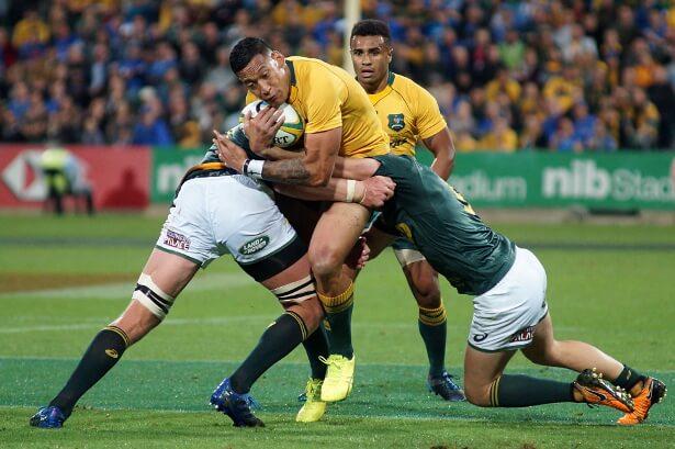 Israel Folau is tackled Wallabies v Springboks Perth 2017 (Photo Credit: Delphy)