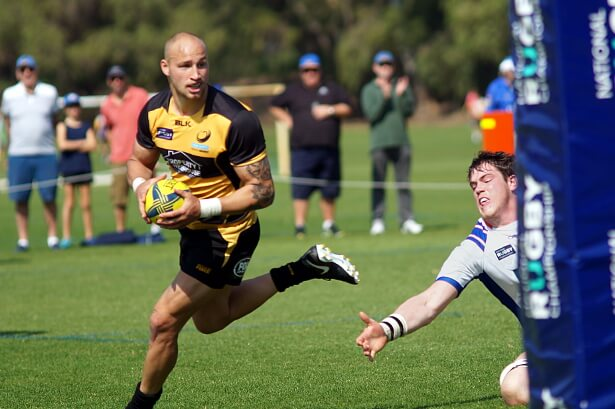 Billy Meakes scores for Perth Spirit v GReater Sydney Rams NRC 2017 (Photo Credit: Delphy)