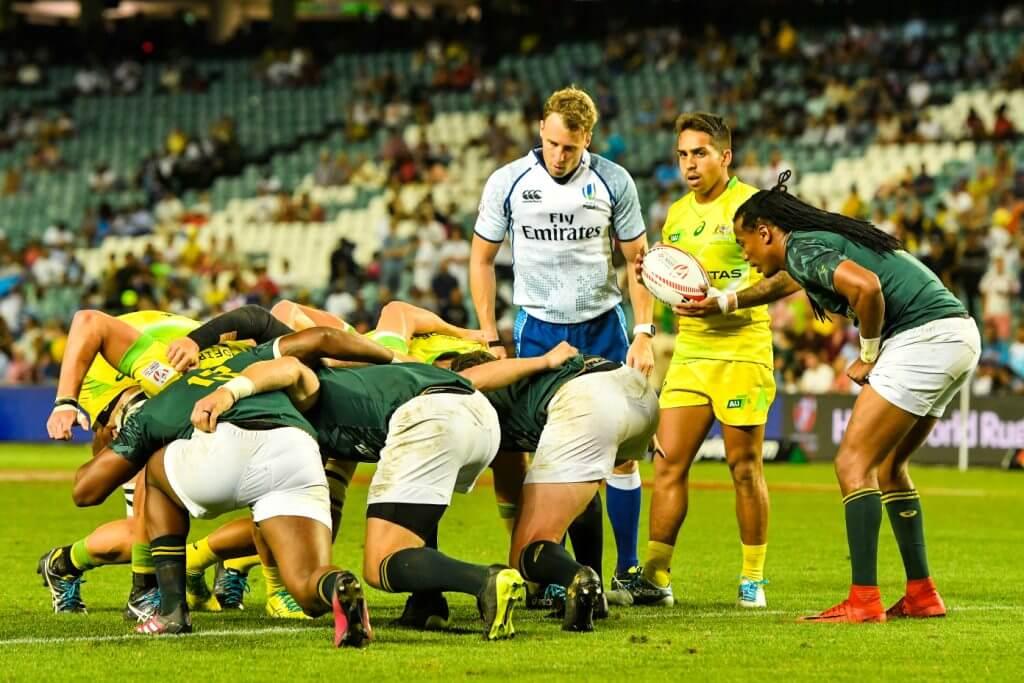 Australian Men Sydney 7s Maurice Longbottom feeds scrum