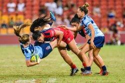 Alysia Lefau-Fakaosilea puts on a big hit in the Womens Final