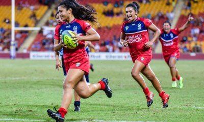 Alysia Lefau-Fakaosilea runs in the match winner in the Women's Final of Brisbane Tens