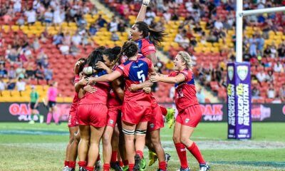 Reds Women celebrate their extra time try to win the Brisbane Tens Final