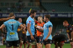 Rob Simmons gets his first yellow card for the Waratahs.