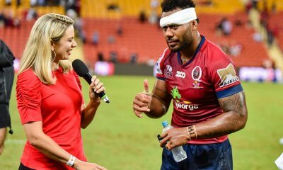A battered Samu Kerevi can manages a thumbs up