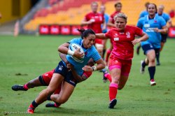 Chloe Leaupepe scores the first try of Super W for NSW