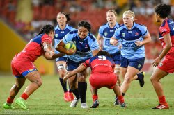 Reds tacklers bring down a NSW runner
