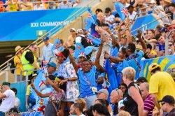 Fijian Fans celebrate a semi-final win over South Africa