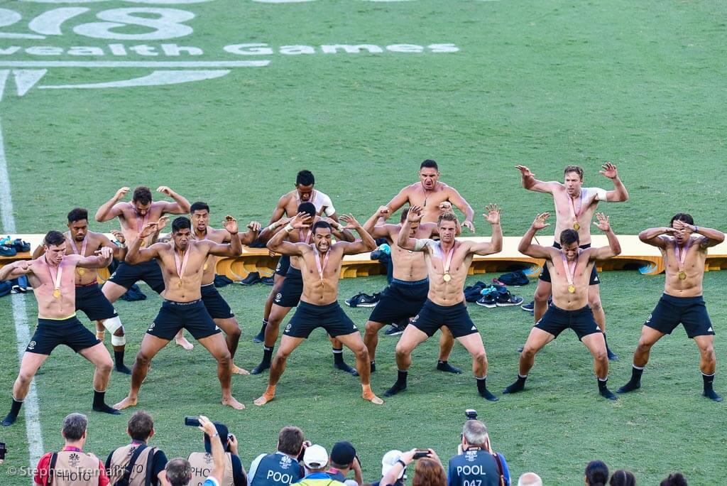 Gold Medallists, NZ, perform a Haka after the medal presentation