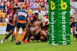 Samu Kerevi jolts a ball loose in the tackle