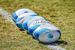 Stock photo of GC2018 rugby balls