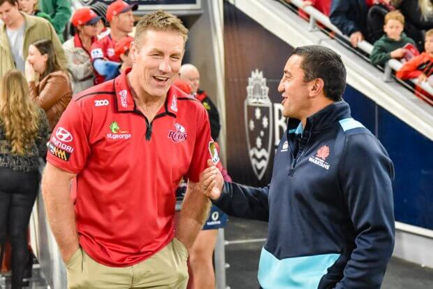 Brad Thorn and Darryl Gibson share a laugh after the game