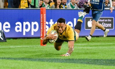 Israel Folau dives over, but the try was disallowed