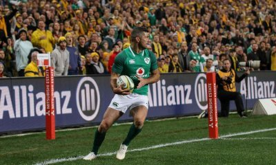 Rob Kearney stepping into touch in goal after fielding a kick.