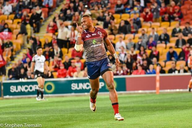Eto Nabuli scores his second try in his last game for the Queensland Reds