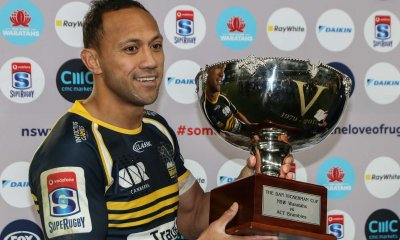 The Dan Vickerman Trophy, claimed by Brumbies captain Christian Lealiifano.