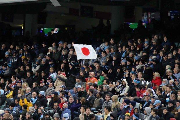 Japan celebrate some enterprising attacking play.