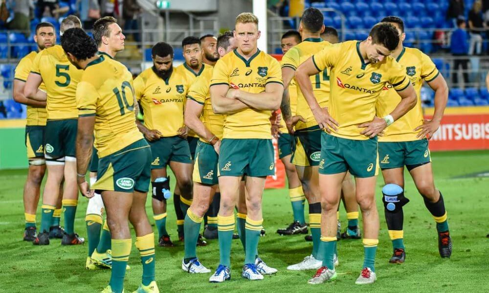 Dejected Wallabies after loss to Argentina