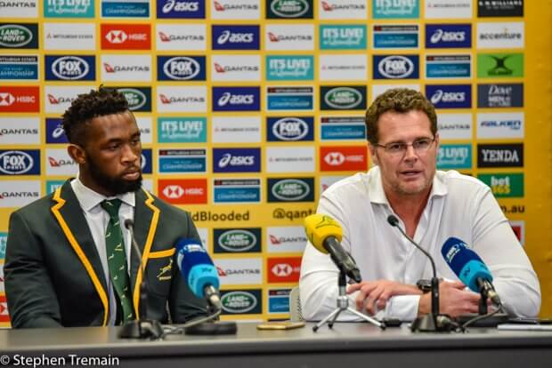 Springboks Captain Siya Kolisi and Coach Rassie Erasmus