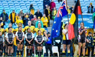 Wallaroos anthem and flags (Credit Keith McInnes)