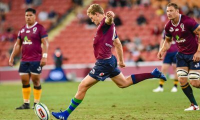 Bryce Hegarty kicks for goal  Reds v Rebels 2019