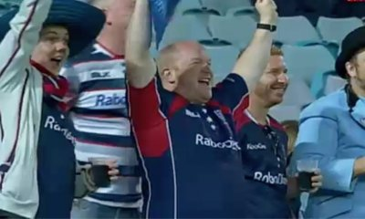Rebels fans at a Tahs v Rebels game in Sydney