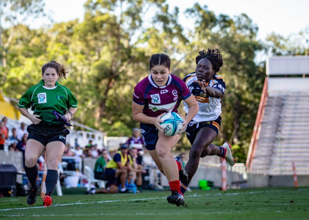Alana Elisaia scores Super W Semi Final Queensland v Brumbies 2019 (Photo Credit Brendan Hertel QRU)