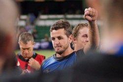 Ian Prior celebrates Force v World XV (Photo Credit Delphy)