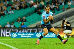 Kurtley Beale catches Waratahs v Rebels 2019 (Credit Keith McInnes)