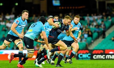 Reece Hodge races away for a try Waratahs v Rebels 2019 (Credit Keith McInnes)