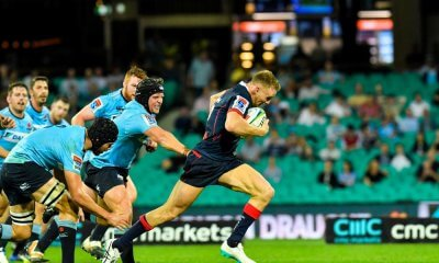 Reece Hodge through the gap Waratahs v Rebels 2019 (Credit Keith McInnes)