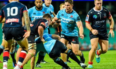 Sekope Kepu Michael Hooper support the ruck Waratahs v Rebels 2019 (Credit Keith McInnes)