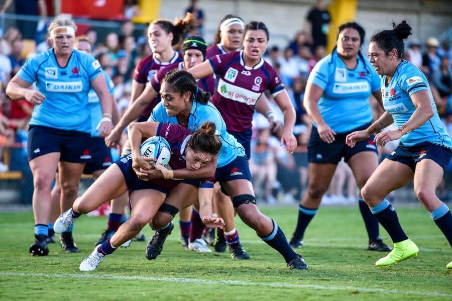 Sera Naiqama tackles Super W 2019 QLD v NSW (photo credit Keith McInnes)