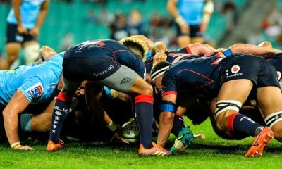 Will Genia feeds low scrum Waratahs v Rebels 2019 (Credit Keith McInnes)