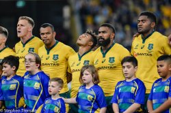 Reece Hodge, Kurtley Beale ,Will Genia  , Marika Koroibete ,Isi Naisarani during national anthem