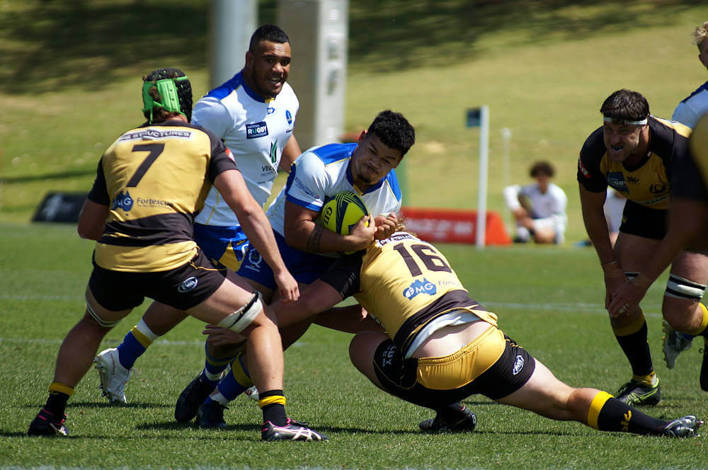 Hunter Paisami tackled Western Force v Brisbane City NRC 2019 (Credit Delphy)