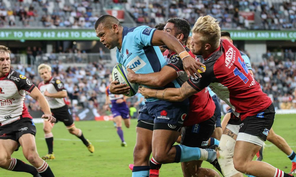 Kurtley Beale carrying lions on his back.