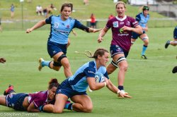 Arabella McKenzie is tackled by Hagiga Mosby