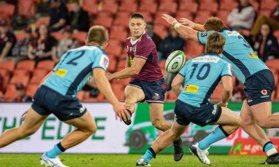 James O'Connor kicks through QLD Reds v NSW Waratahs 2020 Photo Credit QRU Brendan Hertel